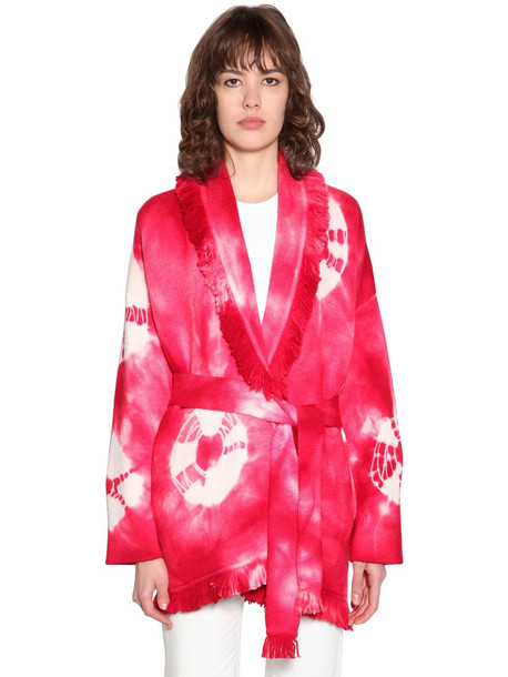ALANUI Tie Dye Wool Blend Knit Cardigan in fuchsia / white