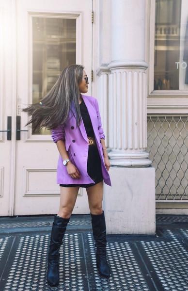 gracefullee made blogger jacket romper shoes jewels sunglasses belt gucci belt blazer knee high boots fall outfits