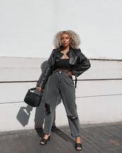 jacket,black jacket,leather jacket,black sandals,black jeans,ripped jeans,black top,black bag