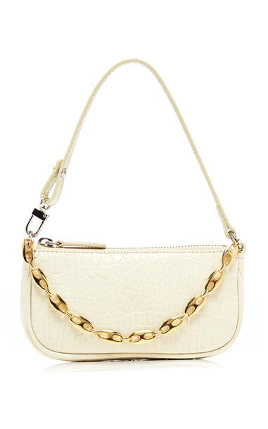 by FAR Mini Rachel Croc-Effect Leather Shoulder Bag in white