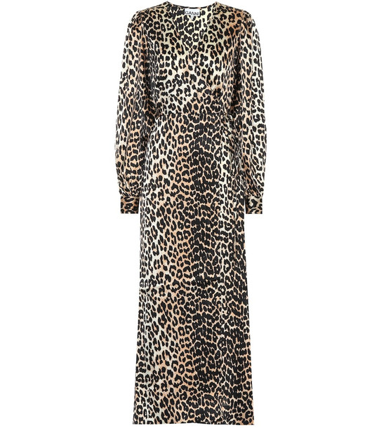 Ganni Leopard-printed stretch-silk dress in brown
