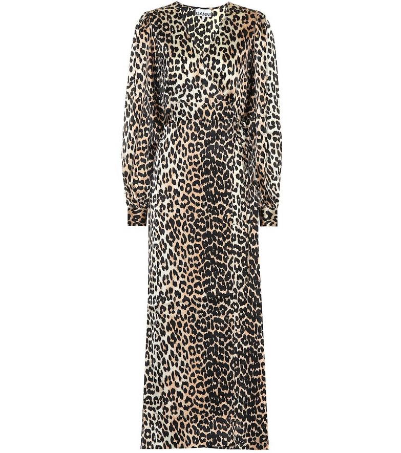 Ganni Leopard-printed stretch-silk dress in brown