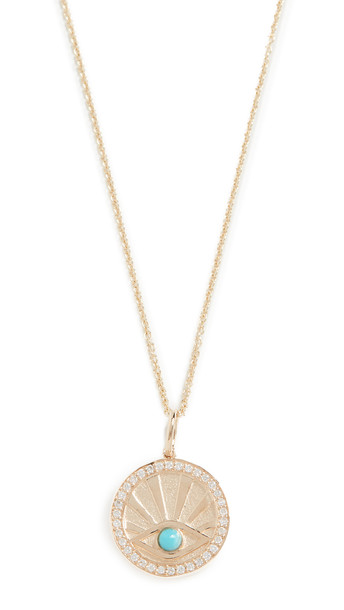 Sydney Evan Evil Eye Coin Necklace in gold / yellow