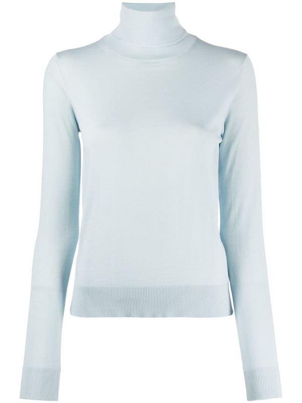 LANVIN roll-neck logo-embroidered jumper in blue