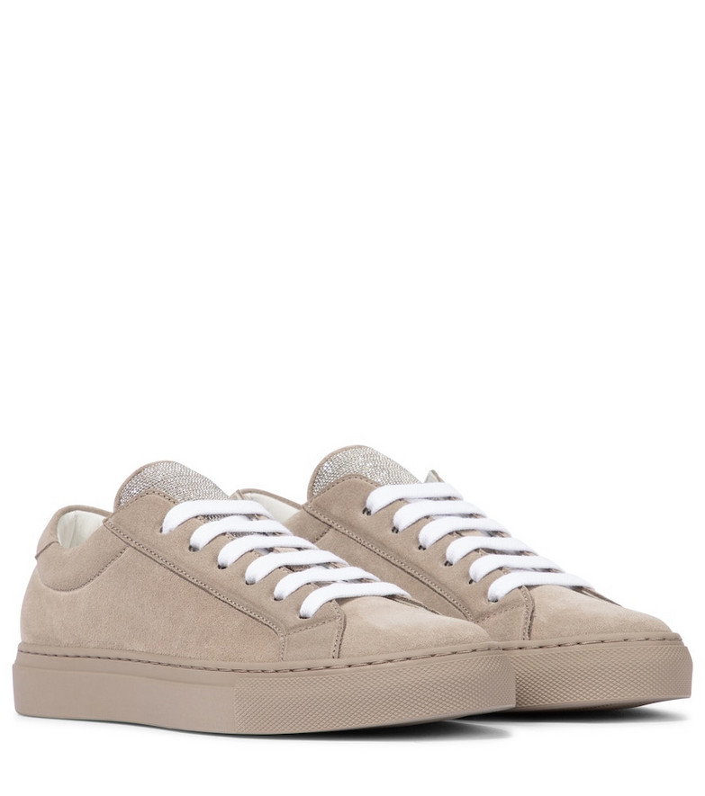 Brunello Cucinelli Embellished suede sneakers in brown