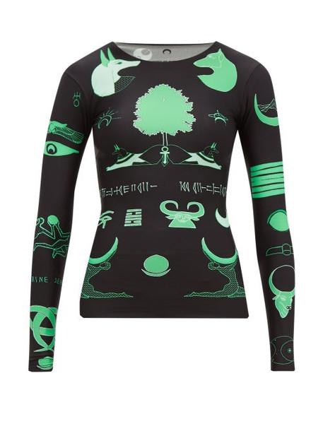 Marine Serre - Long Sleeved Shamanic Print Top - Womens - Black Green