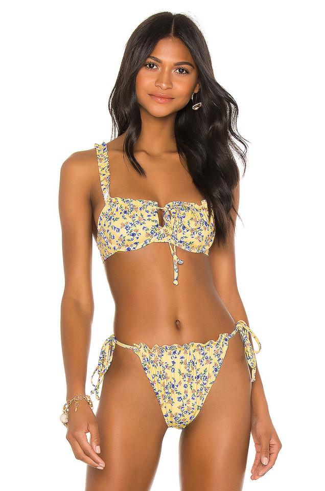 BEACH RIOT Caitlin Bikini Top in yellow