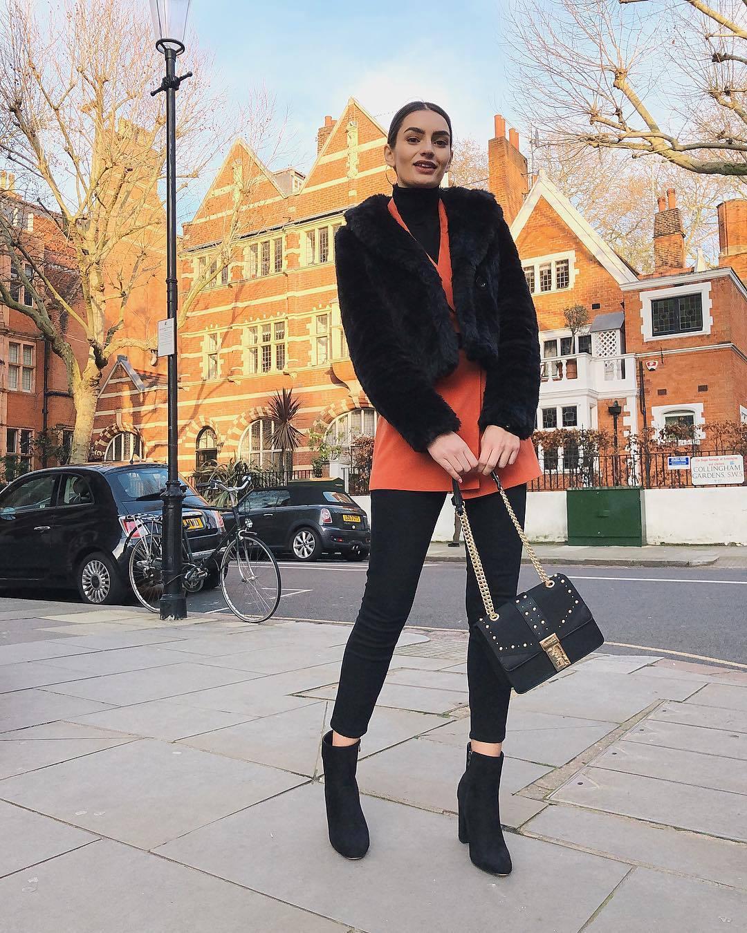 jacket blazer double breasted ankle boots black boots heel boots black jeans black bag shoulder bag faux fur jacket black turtleneck top
