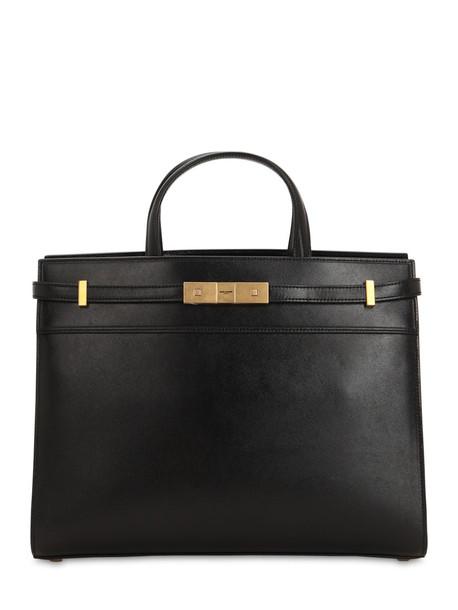 SAINT LAURENT Small Manhattan Leather Top Handle Bag in noir