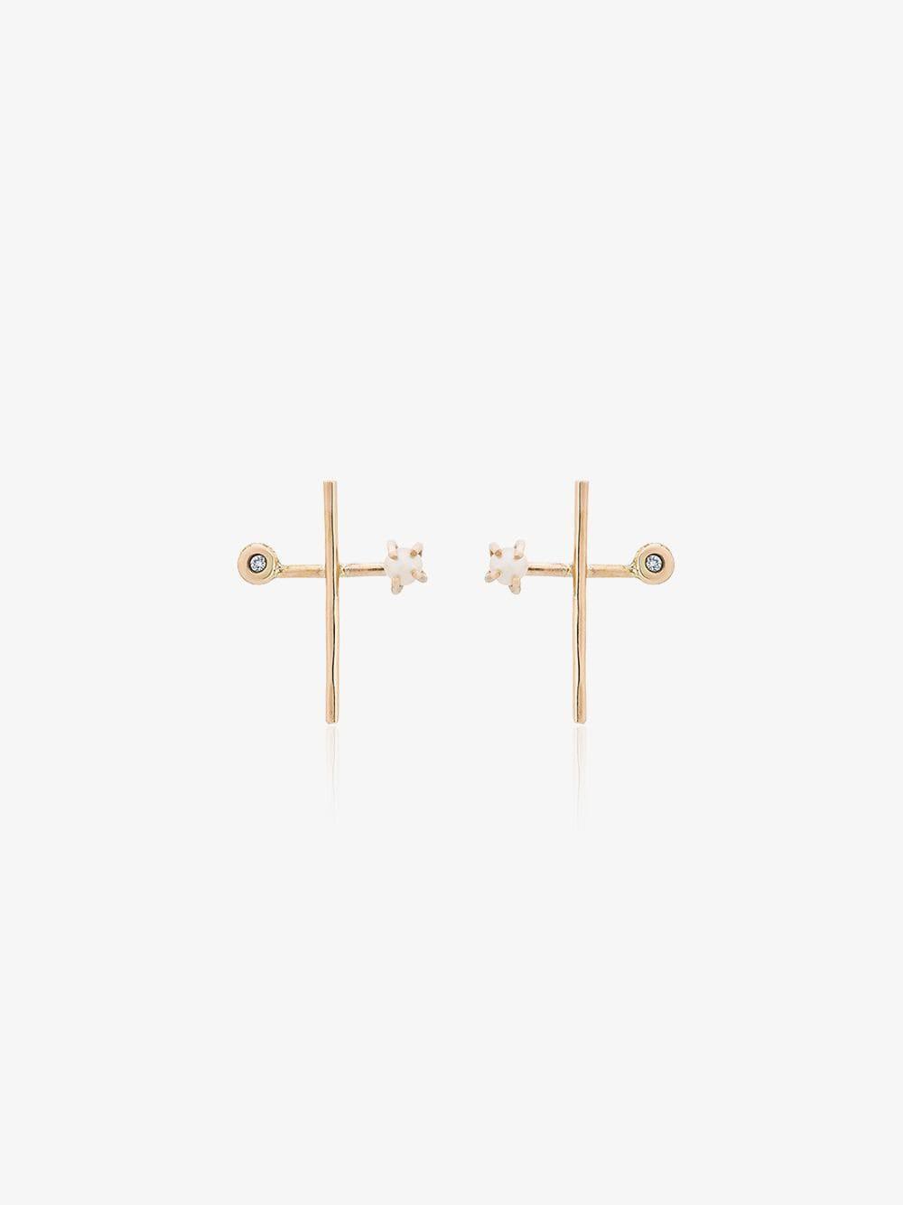 Melissa Joy Manning diamond and pearl cross earrings in metallic