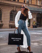 top,black top,tank top,high waisted jeans,pumps,bag,cardigan