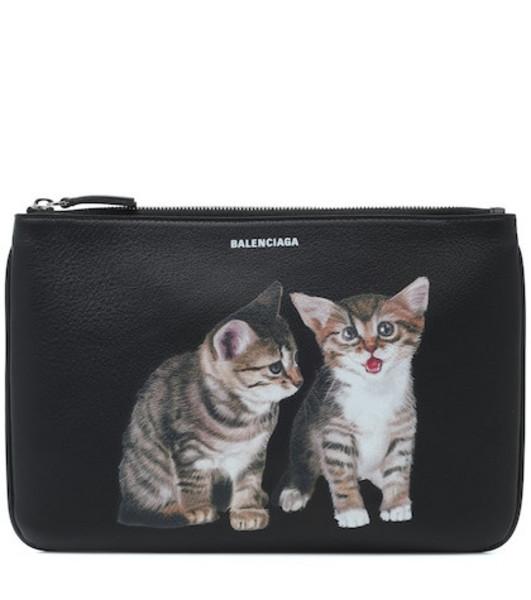 Balenciaga Kitten leather pouch in black