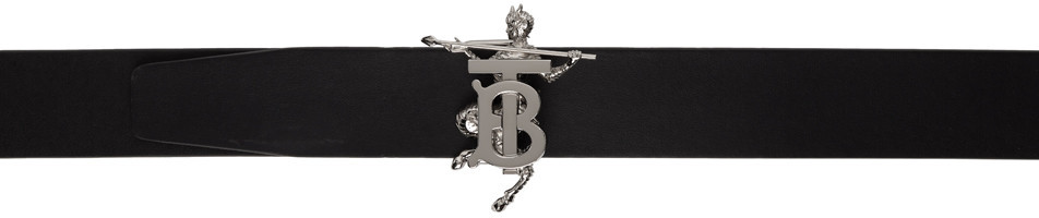 Burberry Reversible Black & Silver Mythical Alphabet TB Faun Belt in gold