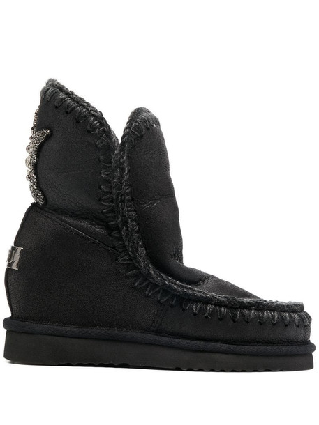 Mou embellished-star shearling boots in black