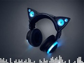 earphones,black,blue,cat ears,headphones