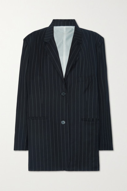 Frankie Shop - Pernille Oversized Striped Woven Blazer - Navy