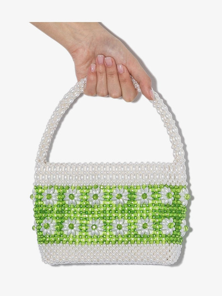 Shrimps white and green Ida floral beaded bag