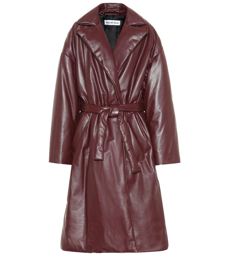 Balenciaga Padded leather coat in brown