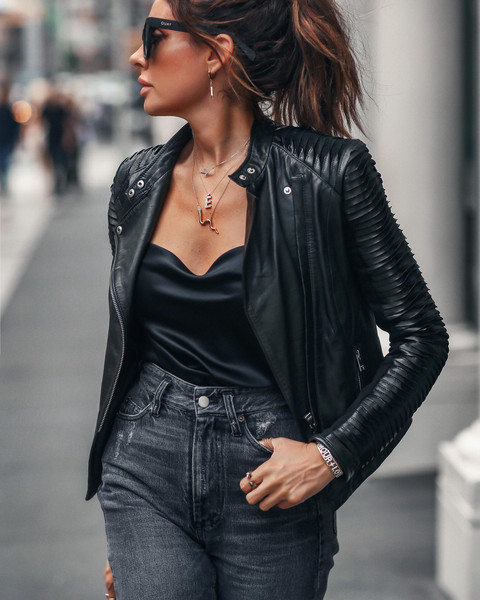 fashionedchic blogger jacket top tank top jeans bag jewels leather jacket fall outfits