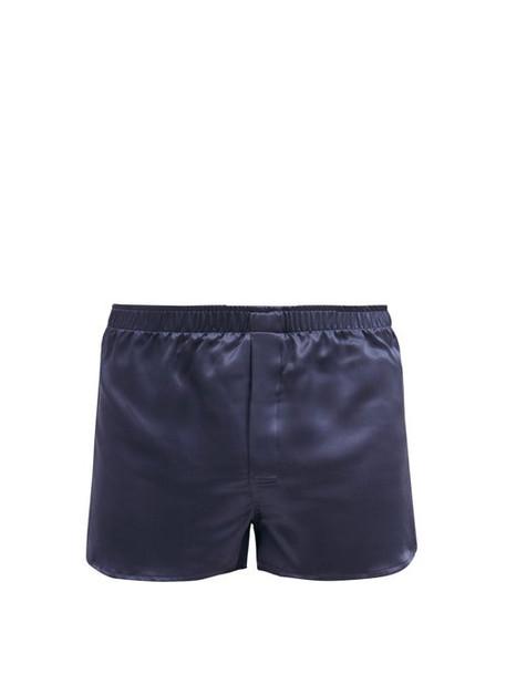 Derek Rose - Bailey Silk-satin Boxer Shorts - Mens - Navy