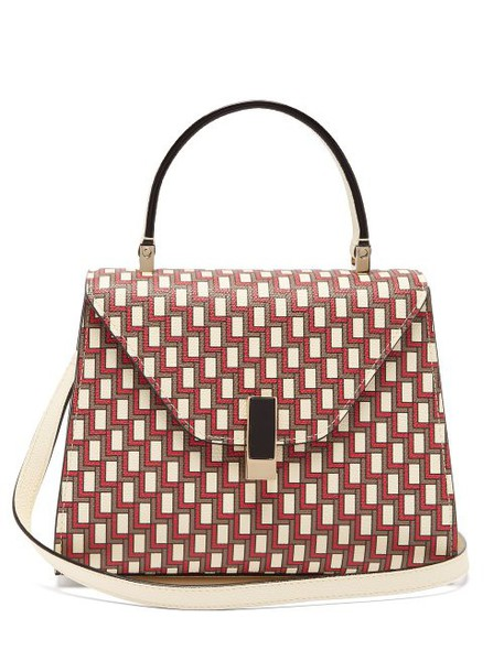 Valextra - Iside Mini Geometric Print Leather Bag - Womens - Red Multi