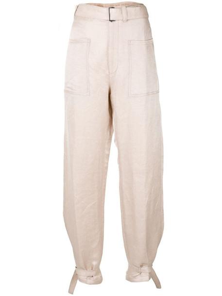 Ann Demeulemeester high-waisted straight leg trousers in neutrals