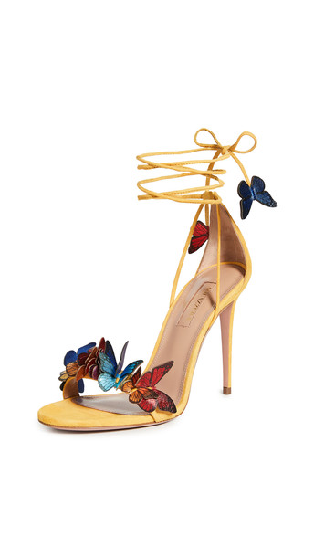 Aquazzura 105mm Papillon Sandals in yellow