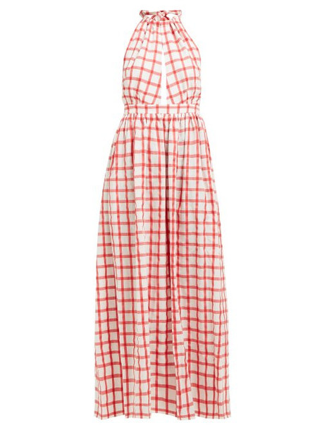 Mara Hoffman - Linny Checked Halterneck Cotton Dress - Womens - White
