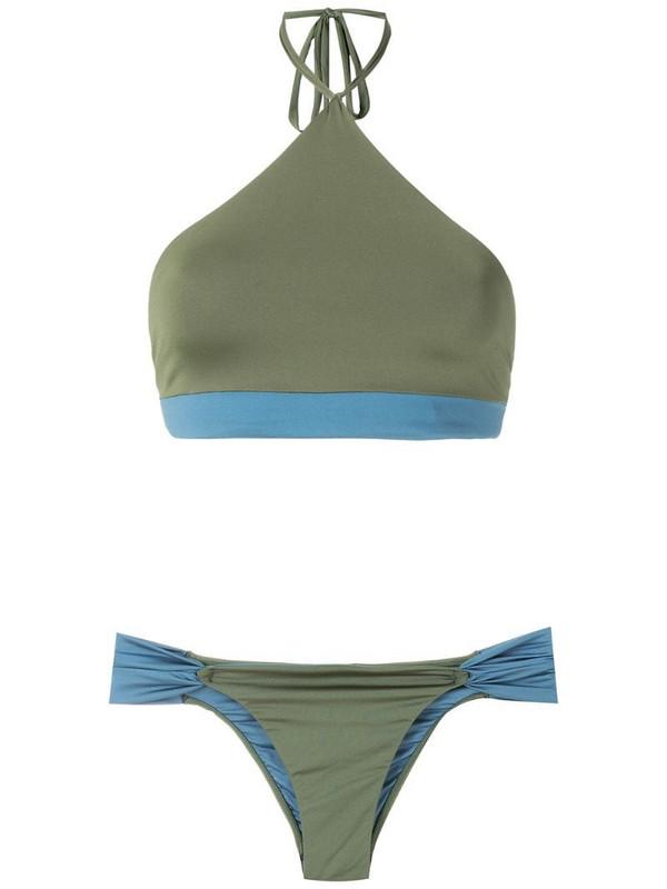 ESC two-tone cropped bikini set in green