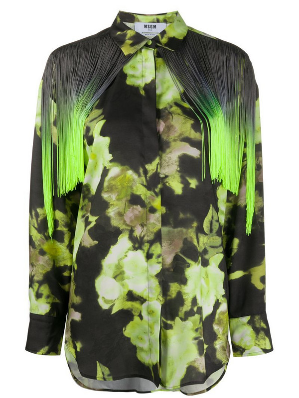 MSGM abstract print fringe shirt in green