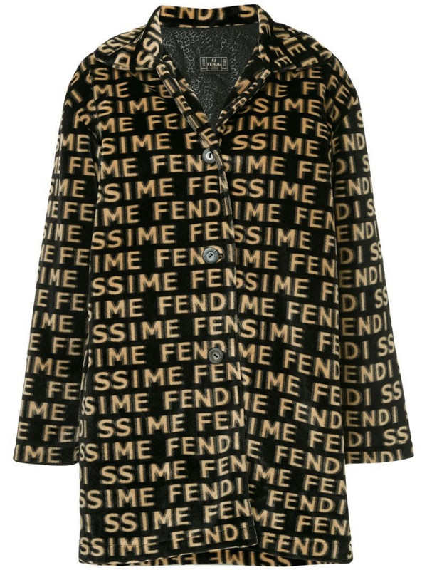Fendi Pre-Owned logos long sleeve coat in black