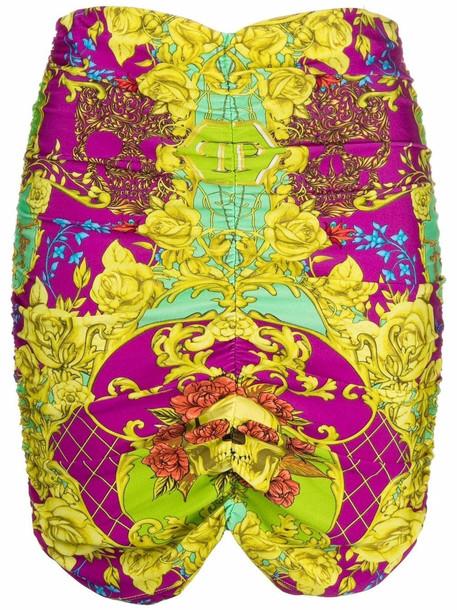 Philipp Plein baroque skull-print fitted skirt - Purple