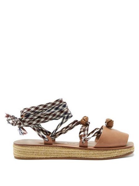 Álvaro Álvaro - Tallulona Gingham-strap Wicker Flatform Sandals - Womens - Tan Multi