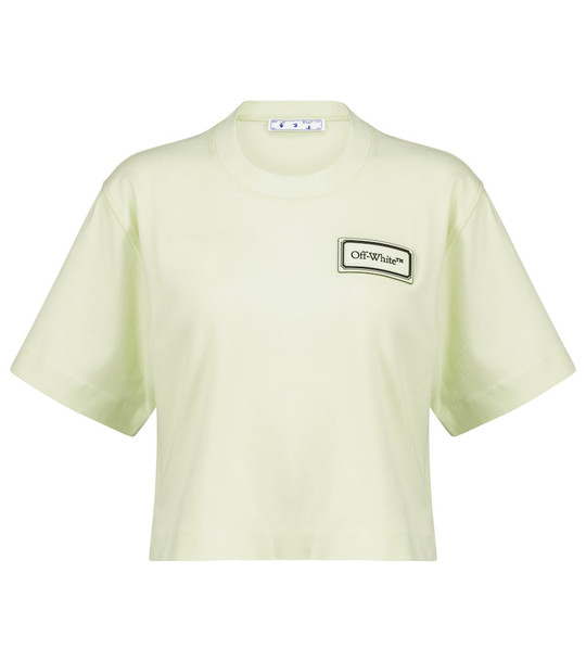 Off-White Logo cropped cotton T-shirt in green