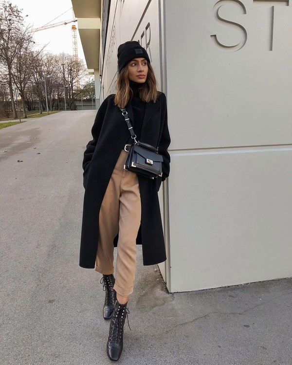 bag black boots ankle boots high waisted pants black coat black turtleneck top beanie