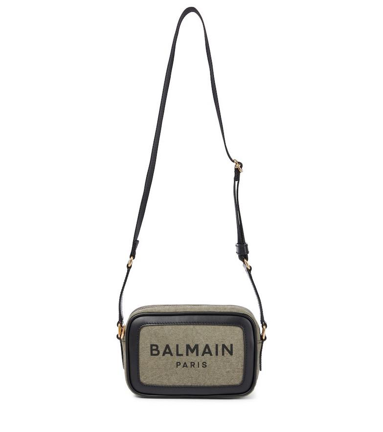 Balmain B-Army 18 canvas camera bag in green