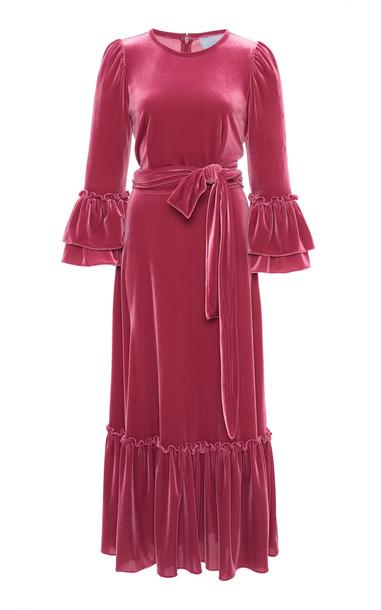 Luisa Beccaria Velvet Midi Dress in pink