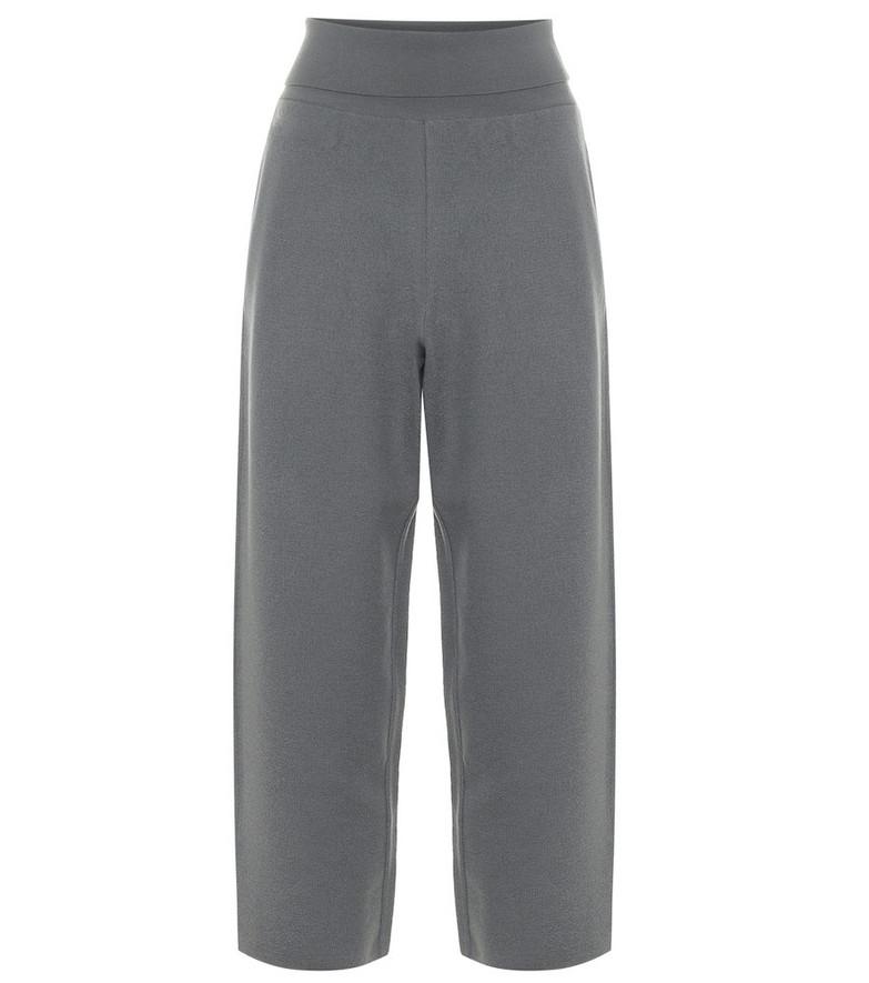 Stella McCartney Virgin wool wide-leg cropped pants in grey
