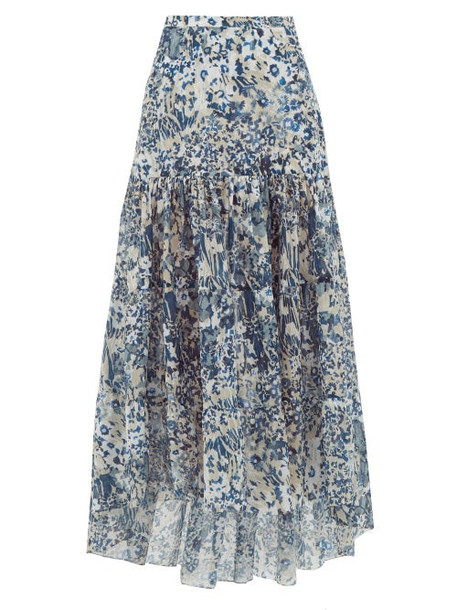 On The Island By Marios Schwab - Kaupoa Floral-print Banded Cotton-poplin Skirt - Womens - Blue Print