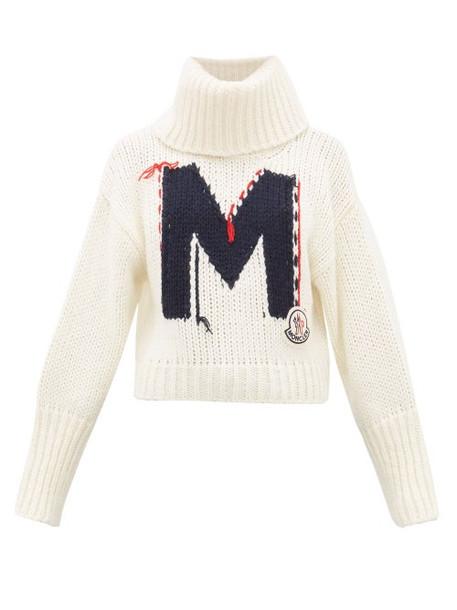 Moncler - Logo Jacquard Chunky Knit Roll Neck Sweater - Womens - White Multi