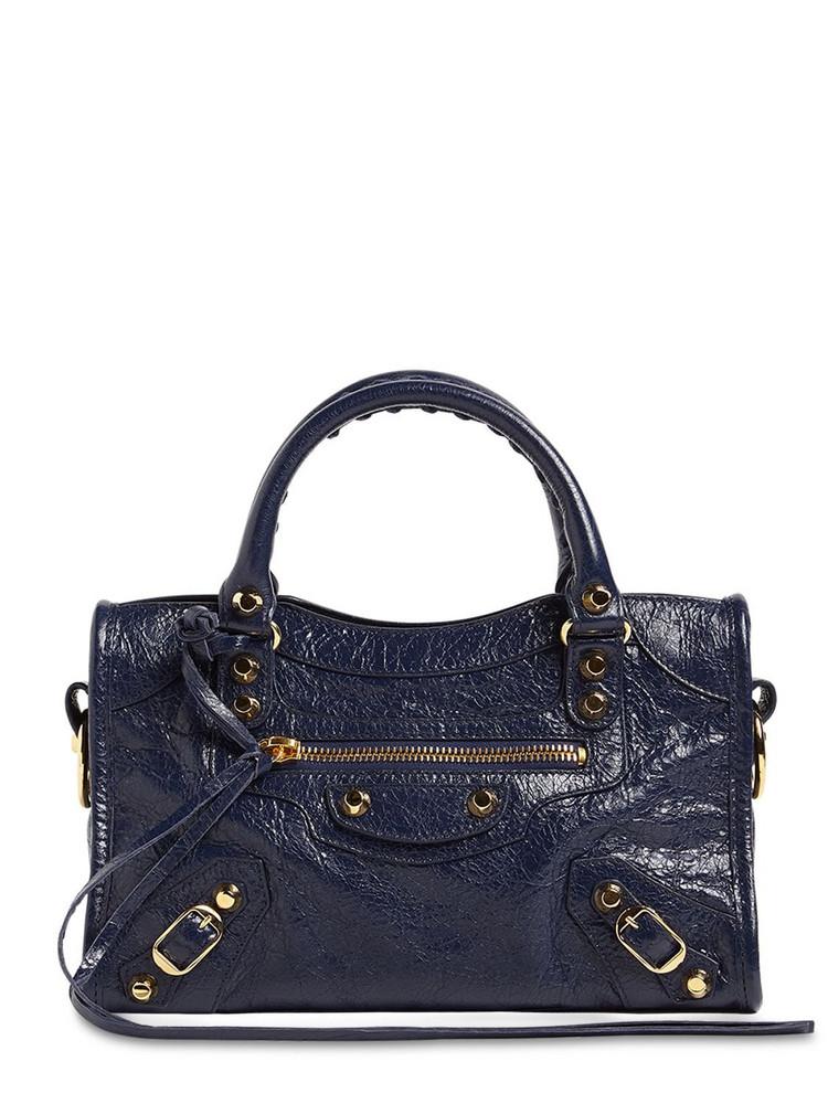BALENCIAGA Mini City Logo Leather Top Handle Bag in navy