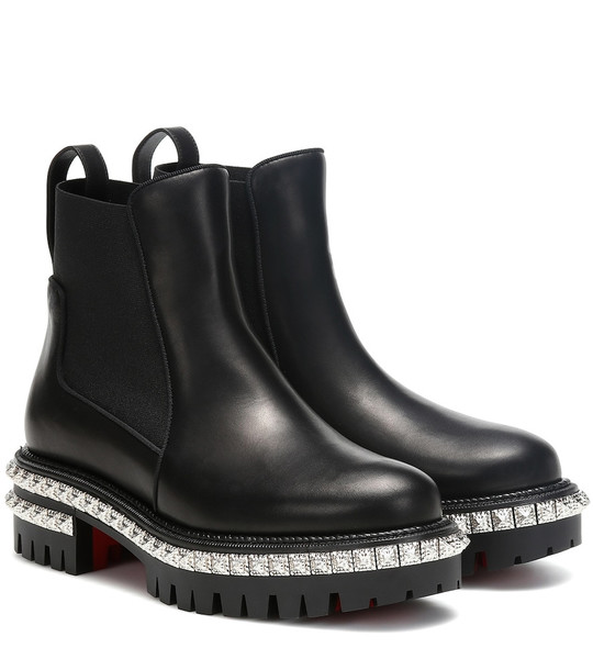 Christian Louboutin By The River leather ankle boots in black
