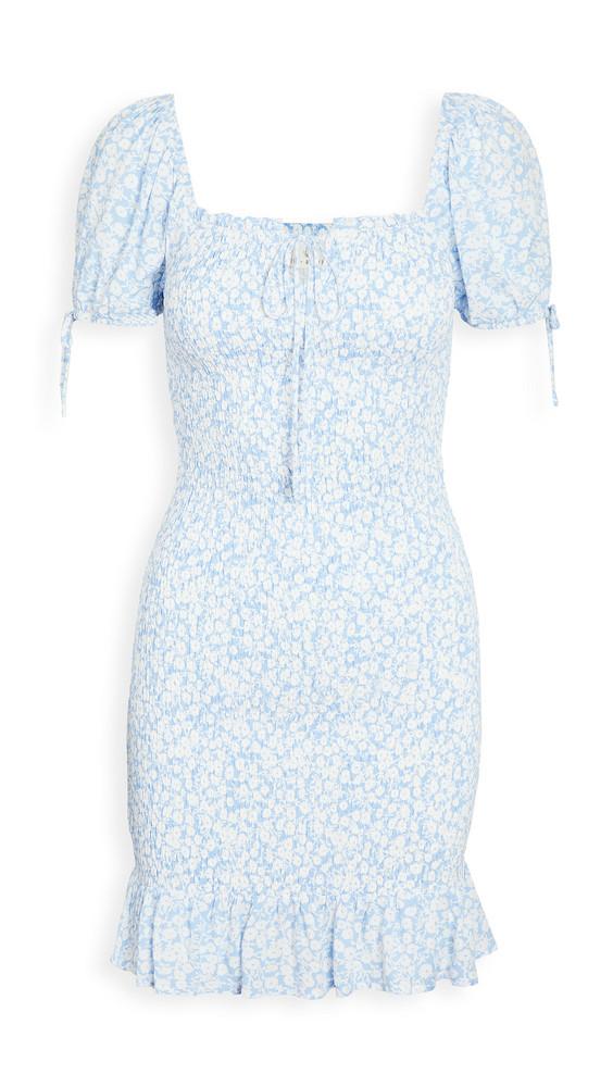 Lost + Wander Lost + Wander Wander My Way Mini Dress in blue / white
