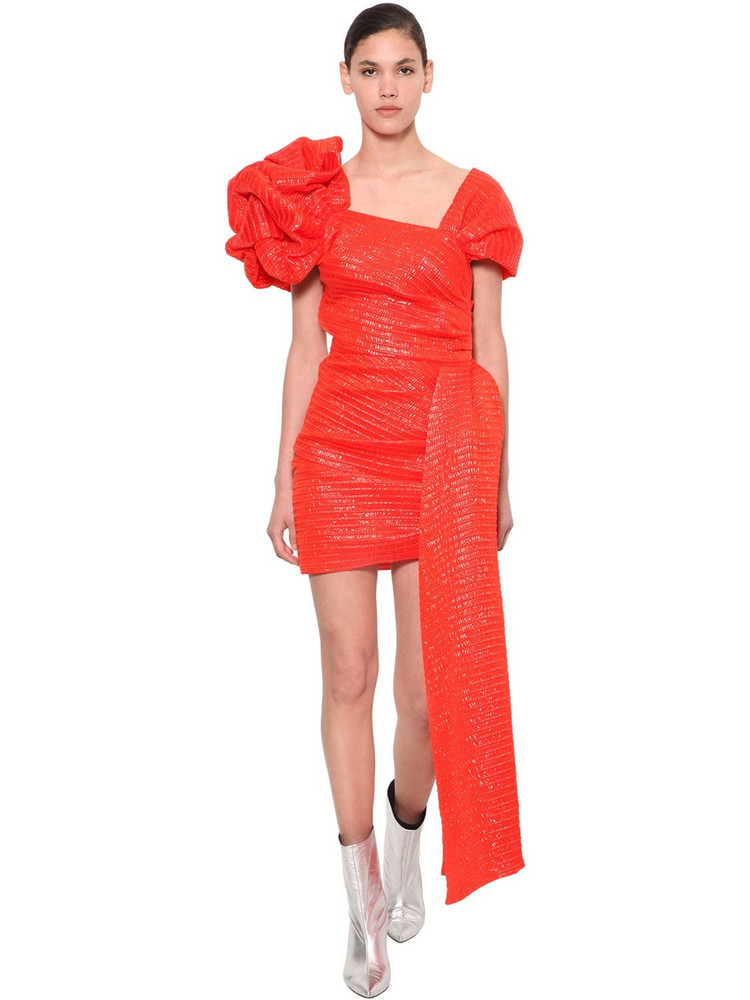 ANNAKIKI Huawei 3d Ruffled Shoulder Mini Dress in red