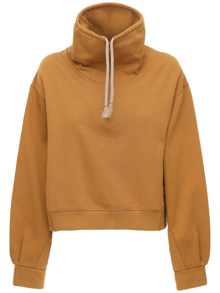 KENZO Half-zip Cotton Jersey Sweatshirt in camel