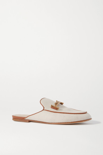 Tod's - Leather-trimmed Embellished Canvas Slippers - Off-white