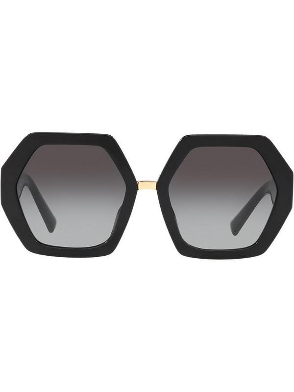 Valentino Eyewear hexagonal oversized V logo sunglasses in black