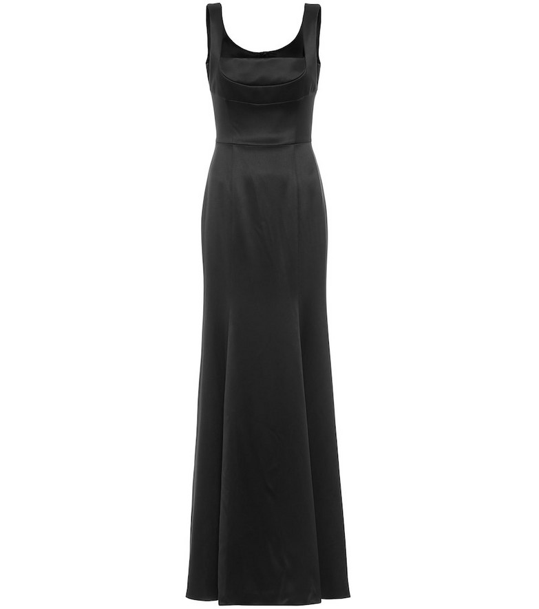 Dolce & Gabbana Silk-blend satin gown in black