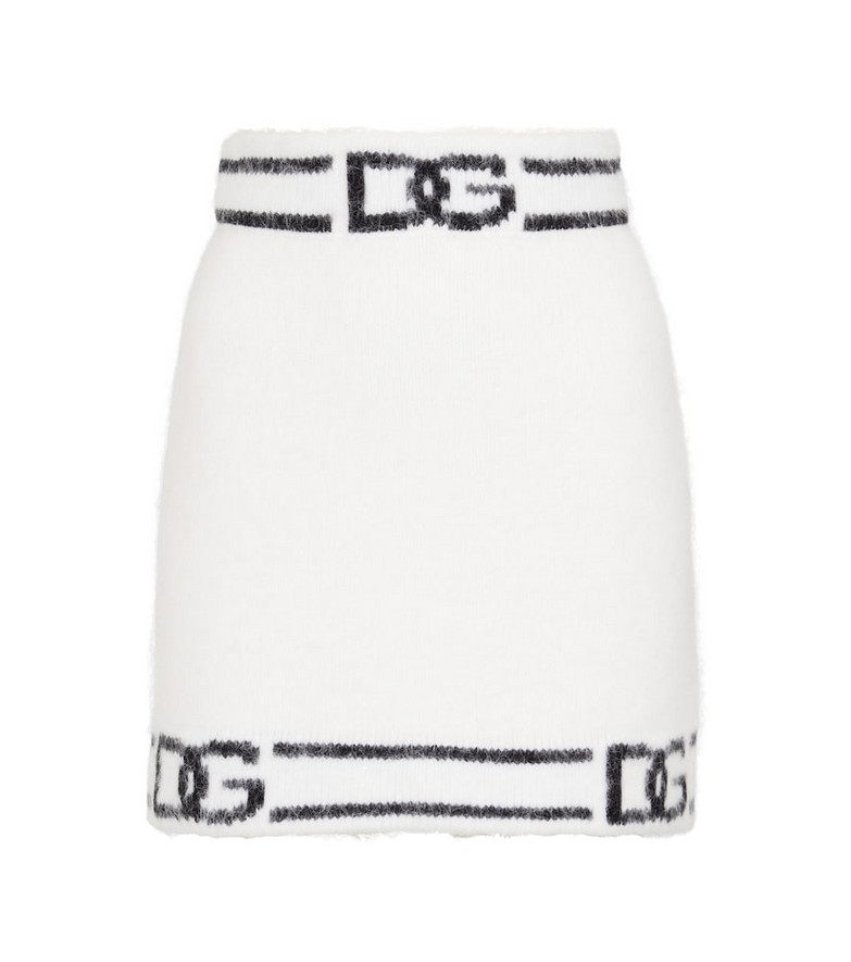 Dolce & Gabbana Logo intarsia miniskirt in white