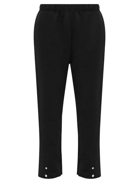 Les Tien - Turned-up Cuff Cotton-jersey Track Pants - Womens - Black